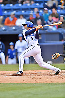 Asheville Tourists third baseman Coco Montes (5) swings at a pitch during a game against the Augusta GreenJackets at McCormick Field on April 5, 2019 in Asheville, North Carolina. The  Tourists defeated the GreenJackets 5-0. (Tony Farlow/Four Seam Images)