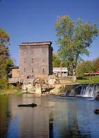 Mansfield Roller Mill, 1820s water-powered grist mill on Big Raccoon Creek, Parke County, Mansfield, Indiana. Mansfield Indiana, Parke County.
