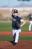 Blake Smith (50), from Minot Air Force Base, North Dakota, while playing for the Padres during the Under Armour Baseball Factory Recruiting Classic at Red Mountain Baseball Complex on December 28, 2017 in Mesa, Arizona. (Zachary Lucy/Four Seam Images)