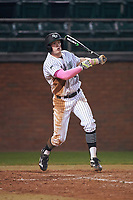 Stetson Hatters second baseman Jack Machonis (3) at bat during a game against the Siena Saints on February 23, 2016 at Melching Field at Conrad Park in DeLand, Florida.  Stetson defeated Siena 5-3.  (Mike Janes/Four Seam Images)