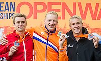 Podium - WEERTMAN Ferry NED gold medal, BURNELL Jack GBR silver medal, OLIVIER Marc Antoine FRA bronze medal<br /> Hoorn, Netherlands <br /> LEN 2016 European Open Water Swimming Championships <br /> Open Water Swimming<br /> Men's 10km<br /> Day 01 10-07-2016<br /> Photo Giorgio Perottino/Deepbluemedia/Insidefoto