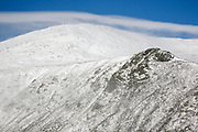 Mount Washington in extreme weather conditions from Boott Spur Trail in the White Mountains, New Hampshire USA during the winter months.