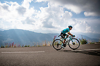 stage leader Miguel 'Superman' Angel Lopez (COL/Astana) up the finish climb & the highest peak of the 2020 #TdF: the Col de la Loze (HC/2304m/21,5km @7,8%)<br /> <br /> Stage 17 from Grenoble to Méribel - Col de la Loze (170km)<br /> <br /> 107th Tour de France 2020 (2.UWT)<br /> (the 'postponed edition' held in september)<br /> <br /> ©kramon