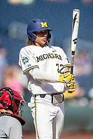 Michigan Wolverines outfielder Jordan Brewer (22) at the plate during Game 11 of the NCAA College World Series against the Texas Tech Red Raiders on June 21, 2019 at TD Ameritrade Park in Omaha, Nebraska. Michigan defeated Texas Tech 15-3 and is headed to the CWS Finals. (Andrew Woolley/Four Seam Images)