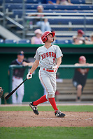 Auburn Doubledays third baseman Cole Daily (7) hits a home run during a game against the Batavia Muckdogs on September 1, 2018 at Dwyer Stadium in Batavia, New York.  Auburn defeated Batavia 10-5.  (Mike Janes/Four Seam Images)