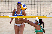 Brazil's Lili Maestrini, right, in action against Jennifer Jessy, of the United States, at the Beach Volleyball World Tour Grand Slam, Foro Italico, Rome, 22 June 2013. USA defeated Brazil 2-1.<br /> UPDATE IMAGES PRESS/Isabella Bonotto