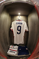 GUADALAJARA, MEXICO - MARCH 24: The locker of Jesus Ferreira #9 of the United States before a game between Mexico and USMNT U-23 at Estadio Jalisco on March 24, 2021 in Guadalajara, Mexico.