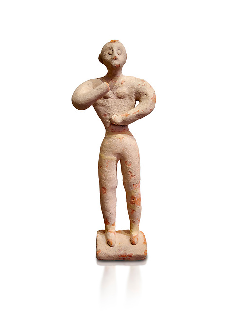 Minoan clay male figurine in the attitude of worship, Chamezi 1900-1700 BC; Heraklion Archaeological  Museum, white background.