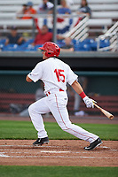 Auburn Doubledays right fielder Kameron Esthay (15) at bat during the second game of a doubleheader against the Mahoning Valley Scrappers on July 2, 2017 at Falcon Park in Auburn, New York.  Mahoning Valley defeated Auburn 3-2.  (Mike Janes/Four Seam Images)