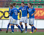 St Johnstone v FC Minsk...01.08.13 Europa League Qualifier at Neman Stadium, Grodno, Belarus...<br /> Steven MacLean celebrates his goal with Stevie May, David Wotherspoon and Liam Caddis<br /> Picture by Graeme Hart.<br /> Copyright Perthshire Picture Agency<br /> Tel: 01738 623350  Mobile: 07990 594431