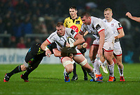 Friday 1st November 2019 | Ulster Rugby vs Zebre Rugby<br /> <br /> Kieran Treadwell is tackled by Oliviero Fabiani during the PRO14 Round 5 clash between Ulster Rugby and Zebre Rugby at Kingspan Stadium, Ravenhill Park, Belfast, Northern Ireland. Photo by John Dickson / DICKSONDIGITAL