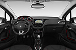 Stock photo of straight dashboard view of 2019 Peugeot 2008 GT-Line 5 Door SUV Dashboard