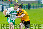 Ballydonoghue V Listowel Emmets: Ballydonoghue's Paul Kennelly wins the ball ahead of Listowel's Eddie Browne in their 1st round game in the Bernard O'Callaghan Memorial North Kerry Championship Sponsored by McMunn Of Ballybunion played in Frank Sheehy Park, Listowel on Saturday evening last.