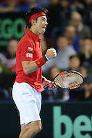 Kei Nishikori (JAP), MARCH 06, 2016 - Tennis : Kei Nishikori (JAP) reacts during the Davis Cup by PNB Paribas , World Group first round fourth rubber between Great Britain and Japan at The Barclaycard Arena, Birmingham, United Kingdom. (Photo by Rob Munro/AFLO)