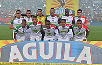 IBAGUE - COLOMBIA, 20-05-2018: Formación del Once Caldas.Acción de juego entre los equipos Deportes Tolima y Once Caldas  durante partido de vuelta por los cuartos de final de la Liga Águila I 2018 jugado en el estadio Manuel Murillo Toro de la ciudad de Ibagué. / Team of Once Caldas. Action game between  Deportes Tolima and Once Caldas  during second leg match for the quarterfinals of the Aguila League I 2018 played at Manuel Murillo Toro in Ibague city. VizzorImage / Juan Carlos Escobar / Cont