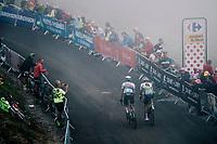 South Africans Daryl Impey (ZAF/Mitchelton-Scott) & Jay Robert Thomson (ZAF/Dimension Data) up the brutal Col du Portet (HC/2250m/16km at 8.7%/Souvenir Henri Desgrange) in this historically short stage (only 65km)<br /> <br /> Stage 17: Bagnères-de-Luchon > Saint-Lary-Soulan (65km)<br /> <br /> 105th Tour de France 2018<br /> ©kramon