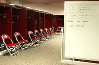 Scribbled noptes from the Spring Game remain on a marker board in the Buckey's locker room at Ohio Stadium Thursday, May 20, 2004 in Columbus, Ohio.