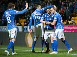 St Johnstone v Aberdeen…22.04.16  McDiarmid Park, Perth<br />Liam Craig celebrates his goal with Joe Shaughnessy, Tam Scobbie and Murray Davidson<br />Picture by Graeme Hart.<br />Copyright Perthshire Picture Agency<br />Tel: 01738 623350  Mobile: 07990 594431