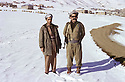 Iran 1980   .Babeker Zibari and Failak Eddin in Rajan,in winter.Iran 1980.De gauche a droite, Babeker Zibari et Failak Eddin a rajan en hiver
