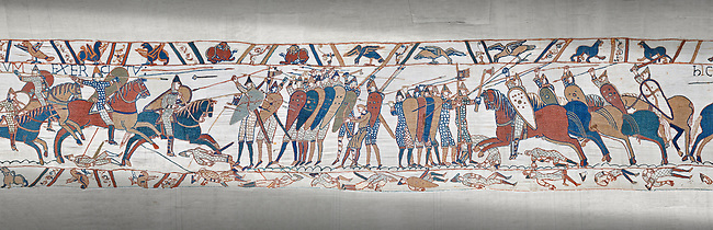 Bayeux Tapestry scene 51c:  The Norman cavalry charge the Saxon foot solders.