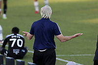 RICHMOND, VA - SEPTEMBER 30: Head coach John Wolyniec of New York Red Bulls II gestures to the referee during a game between North Carolina FC and New York Red Bulls II at City Stadium on September 30, 2020 in Richmond, Virginia.