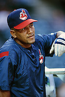 Alex Ramirez of the Cleveland Indians during a game against the Anaheim Angels at Angel Stadium circa 1999 in Anaheim, California. (Larry Goren/Four Seam Images)