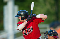 Kolton Kendrick (23) of the Elizabethton Twins at bat against the Danville Braves at American Legion Post 325 Field on July 1, 2017 in Danville, Virginia.  The Twins defeated the Braves 7-4.  (Brian Westerholt/Four Seam Images)