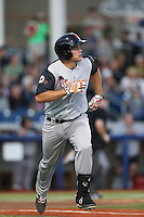 John Riley (25) of the Salem-Keizer Volcanoes runs to first base during a game against the Hillsboro Hops at Ron Tonkin Field on July 27, 2015 in Hillsboro, Oregon. Hillsboro defeated Salem-Keizer, 9-2. (Larry Goren/Four Seam Images)