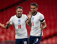 8th Occtober 2020, Wembley Stadium, London, England;  Englands Dominic Calvert-Lewin celebrates after scoring for 1-0 in minute 26 with teammate Danny Ings during a friendly match between England and Wales in London