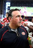 Sep 27, 2015; Glendale, AZ, USA; San Francisco 49ers head coach Jim Tomsula against the Arizona Cardinals at University of Phoenix Stadium. Mandatory Credit: Mark J. Rebilas-USA TODAY Sports