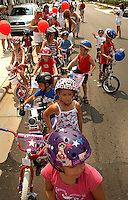Kids line up to participate in the annual Fourth of July Celebration and community parade in Birkdale Village in Huntersville, NC. Birkdale Village combines the best of shopping, dining, apartments and entertainment venues within a 52-acre mixed-use development.