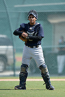 New York Yankees catcher Miguel Flames (46) during an Instructional League game against the Pittsburgh Pirates on September 18, 2014 at the Pirate City in Bradenton, Florida.  (Mike Janes/Four Seam Images)