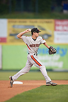 Aberdeen IronBirds shortstop Adam Hall (1) throws to first base during a game against the Tri-City ValleyCats on August 27, 2018 at Joseph L. Bruno Stadium in Troy, New York.  Aberdeen defeated Tri-City 11-5.  (Mike Janes/Four Seam Images)