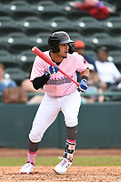 Hickory Crawdads Shortstop Jonathan Ornelas (3) looks to bunt during the game with the Charleston Riverdogs at L.P. Frans Stadium on May 12, 2019 in Hickory, North Carolina.  The Riverdogs defeated the Crawdads 13-5. (Tracy Proffitt/Four Seam Images)