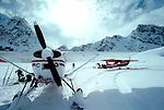 Alaska, Denali National Park, Shelden Amphitheater, Bush planes on skis shuttle in climbers and skiers to the Sheldon Hut in the Ruth Amphitheater,  Alaska Range, North America,.