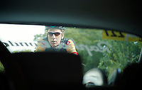 Wiggo trailing behind the Rapha Condor JLT car<br /> <br /> 2013 Tour of Britain<br /> stage 4: Stoke-on-Trent to Llanberis (188km)
