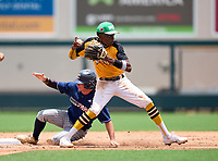 Lakewood Spartans Torry Jones (21) during the 42nd Annual FACA All-Star Baseball Classic on June 5, 2021 at Joker Marchant Stadium in Lakeland, Florida.  Calvary Christian Johnny Lane (2) slides in.  (Mike Janes/Four Seam Images)