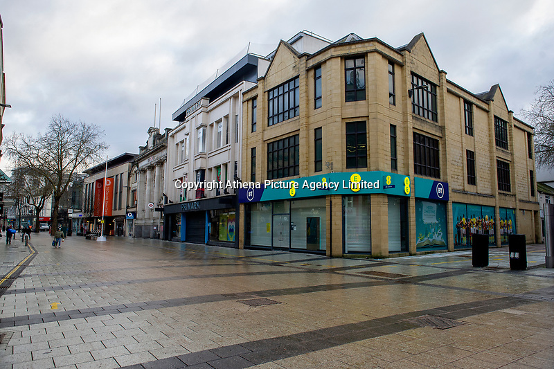 Pictured: The almost deserted Queen Street in Cardiff, Wales, UK. Friday 8th January 2021<br /> Re: The whole of Wales in in Tier 4 due to rising Covid-19 Coronavirus cases, Cardiff, Wales, UK.