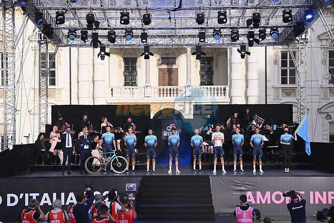 Astana-Premier Tech on stage at team presentation of the 2021 Giro d'Italia inside the Cortile d'Onore of the Castello del Valentino, on the occasion of the 160th anniversary of the Unification of Italy, Turin, Italy. 6th May 2021.  <br /> Picture: LaPresse/Fabio Ferrari | Cyclefile<br /> <br /> All photos usage must carry mandatory copyright credit (© Cyclefile | LaPresse/Fabio Ferrari)