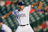 Round Rock Express pitcher Eric Hurley # 37 delivers a pitch during a game against the Memphis Redbirds at the Dell Diamond on July 7, 2011in Round Rock, Texas.  Round Rock defeated Memphis 6-4.  (Andrew Woolley / Four Seam Images)