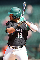 Hawaii Rainbow Warriors first baseman Eric Ramirez (13) at bat during Houston College Classic against the Baylor Bears on March 6, 2015 at Minute Maid Park in Houston, Texas. Hawaii defeated Baylor 2-1. (Andrew Woolley/Four Seam Images)