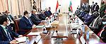 Egypt's President Abdel Fattah al-Sisi meets with South Sudan's President Salva Kiir, wearing protective face masks, in Juba, South Sudan, November 28, 2020. Photo by Egyptian President Office