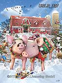 Lori, CHRISTMAS ANIMALS, WEIHNACHTEN TIERE, NAVIDAD ANIMALES, paintings+++++Two Piggies Christmas_7_72_12in,USLS327,#xa#
