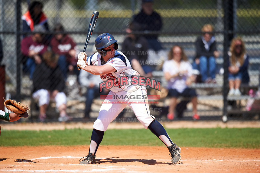 FDU-Florham Devils Joseph Bonaccorso (7) at bat during the first game of a doubleheader against the Farmingdale State Rams on March 15, 2017 at Lake Myrtle Park in Auburndale, Florida.  Farmingdale defeated FDU-Florham 6-3.  (Mike Janes/Four Seam Images)