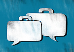 Illustrative image of chat bubble in shape of briefcase representing business networking