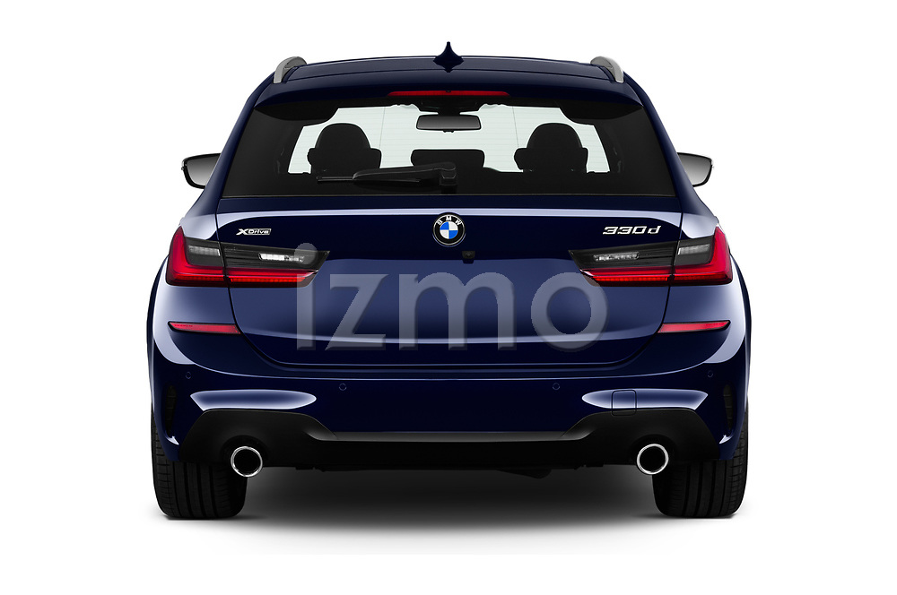 Straight rear view of 2020 BMW 3-Series M-Sport 5 Door Wagon Rear View  stock images