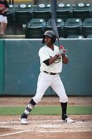 Luis Alejandro Basabe (5) of the Visalia Rawhide bats against the Modesto Nuts at Recreation Ballpark on June 10, 2019 in Visalia, California. (Larry Goren/Four Seam Images)