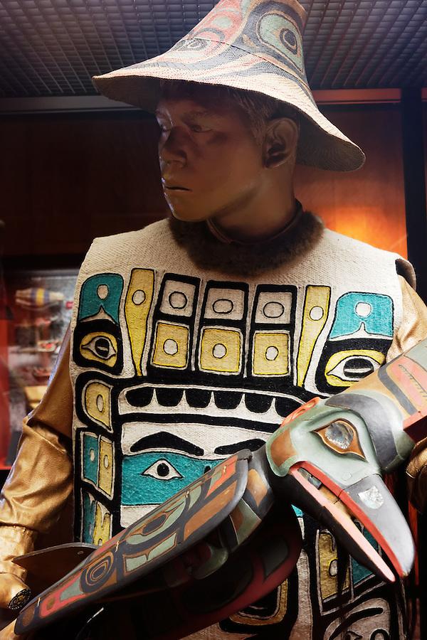 Manikin wearing Tlingit-made Chilkat robe, Sitka National Historical Park Visitor Center, Sitka, Alaska, USA