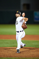 Salt River Rafters pitcher Adam Ravenelle (33), of the Detroit Tigers organization, during a game against the Peoria Javelinas on October 11, 2016 at Salt River Fields at Talking Stick in Scottsdale, Arizona.  The game ended in a 7-7 tie after eleven innings.  (Mike Janes/Four Seam Images)