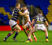 13th November 2020; The Halliwell Jones Stadium, Warrington, Cheshire, England; Betfred Rugby League Playoffs, Catalan Dragons versus Leeds Rhinos; Jason Baitieri of Catalans Dragons is tacled by Cameron Smith of Leeds Rhinos